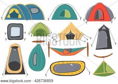 Various Tourist And Military Tent Icon Set Isolated. Camping And Hiking Outdoor Shelters And Nylon D