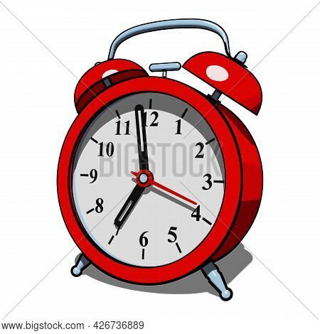 Red Classic Alarm Clock With Shadow Isolated On White Background. Semi Realistic Vector Illustration