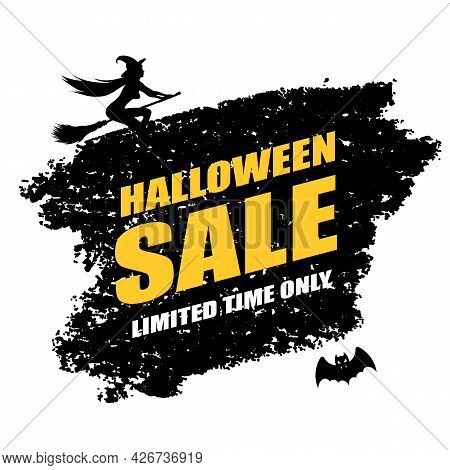 Halloween Sale Poster With Young Sexy Witch Flying On A Broomstick And Bat. Vector Illustration On W