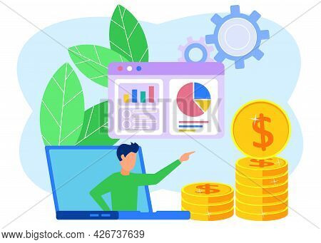 Business Vector Illustration, Businessperson Observing Infographics, Evolution Scale Analysis. Busin