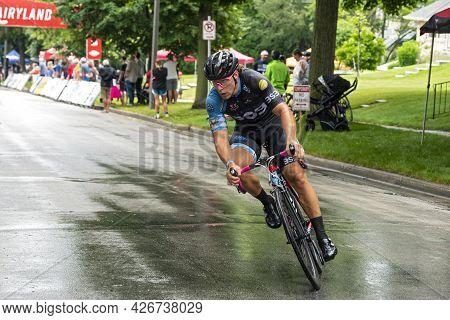 Wauwatosa, Wi/usa - June 26, 2021: Race Leader Makes Turn At Washington Highlands Criterium During T