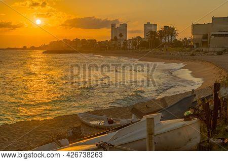 Sunrise View Of The Carmel Beach, Towards Bat Galim, With Small Boats. Haifa, Northern Israel