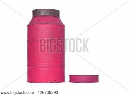 Old Nostalgic Can Isolated On White - Pink Can
