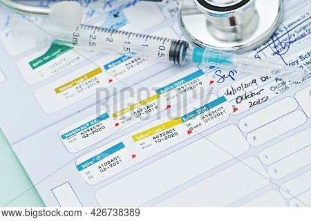 Stethoscope And Pet Animal Vet Passport. Vaccination Concept Of Preparing Pet For Travel. First Pupp