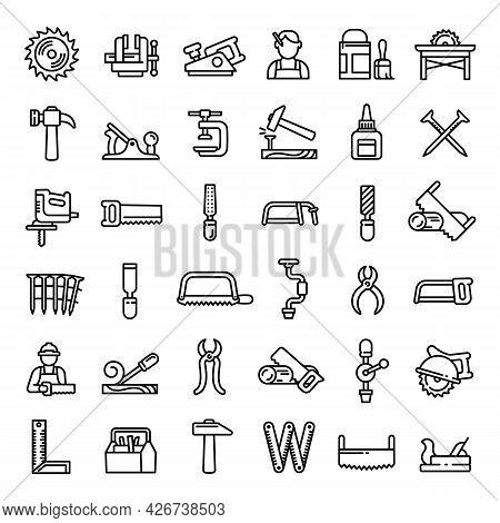 Carpenter Icons Set. Outline Set Of Carpenter Vector Icons For Web Design Isolated On White Backgrou