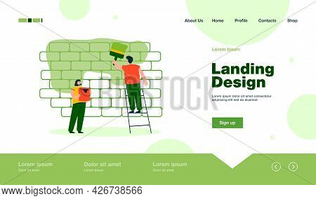 Cartoon Couple Painting Wall Together. Man With Big Brush On Ladder, Woman With Can Of Paint Flat Ve