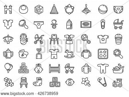 Baby Items Icons Set. Outline Set Of Baby Items Vector Icons For Web Design Isolated On White Backgr