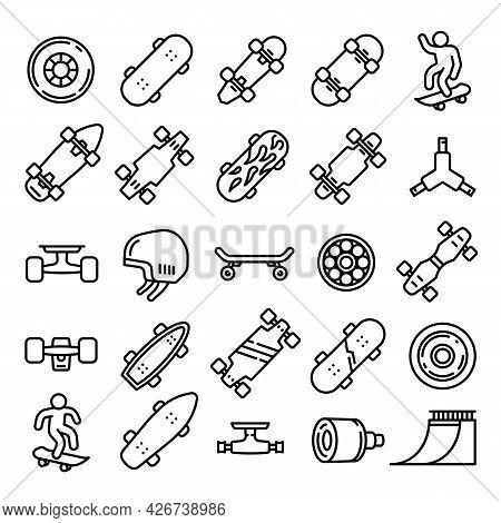 Skateboard Icons Set. Outline Set Of Skateboard Vector Icons For Web Design Isolated On White Backgr
