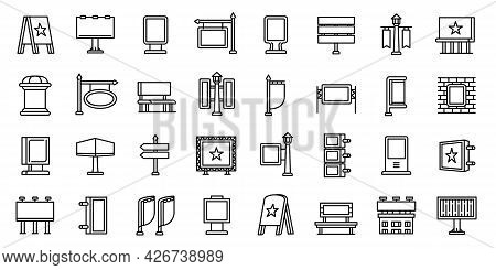 Outdoor Advertising Icons Set. Outline Set Of Outdoor Advertising Vector Icons For Web Design Isolat