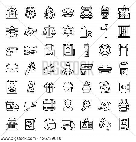 Police Equipment Icons Set. Outline Set Of Police Equipment Vector Icons For Web Design Isolated On