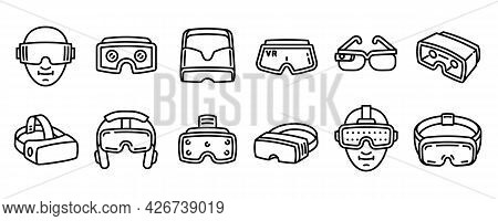 Game Goggles Icons Set. Outline Set Of Game Goggles Vector Icons For Web Design Isolated On White Ba