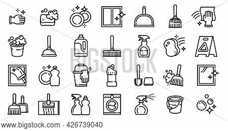 Cleaner Equipment Icons Set. Outline Set Of Cleaner Equipment Vector Icons For Web Design Isolated O