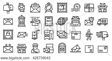 Postman Icons Set. Outline Set Of Postman Vector Icons For Web Design Isolated On White Background