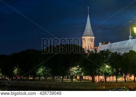 Kaliningrad, Russia On June 5, 2021, The Historic Lutheran Cathedral In Kaliningrad At Night.