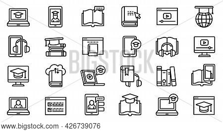 Interactive Learning Icons Set. Outline Set Of Interactive Learning Vector Icons For Web Design Isol