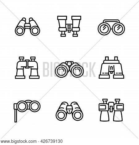 Binoculars Icons Set. Outline Set Of Binoculars Vector Icons For Web Design Isolated On White Backgr