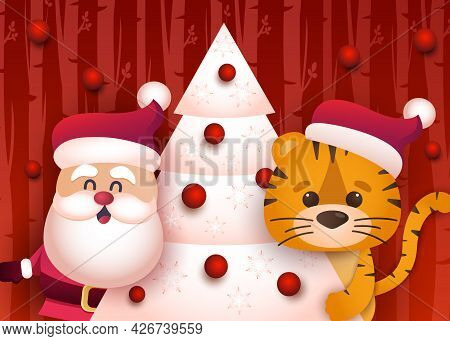 Cute Tiger And Santa Decorate The Christmas Tree.congratulatory Banner With Chinese New Year 2022 Ye
