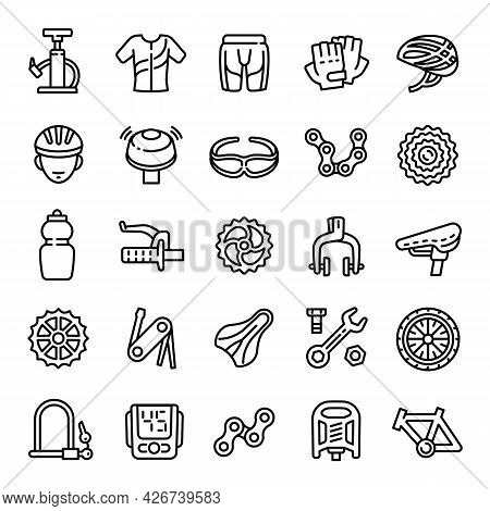 Cycling Equipment Icons Set. Outline Set Of Cycling Equipment Vector Icons For Web Design Isolated O