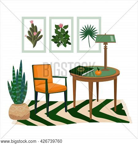 Interior Of Work Cabinet In Botanical Green Style. Vector Vintage Cozy Room With Furniture, Chair, T