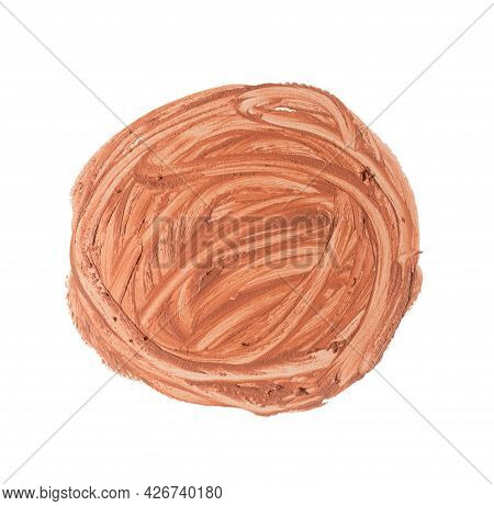 Round Swatch Of Beige Liquid Concealer Face Cream On White Isolated Background, Close Up