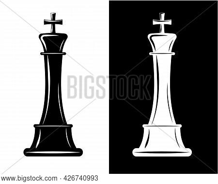 Vector Black And White King Chess Pieces. Graphic Element For Design.