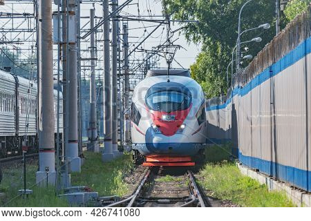 Highspeed Train Moves From Depot. Moscow. Russia.