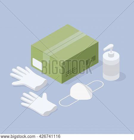 Safe Delivery Isometric Vector Illustration. Set Of Necessary Accessories For Deliveryman Viral Prot