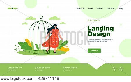 Happy Woman Leaving Birdcage. Female Cartoon Coming Out Of Cage, Opening Up Flat Vector Illustration