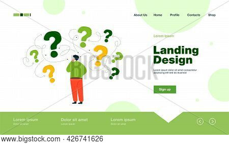 Back View Of Man Making Business Decision Flat Vector Illustration. Cartoon Character Thinking About