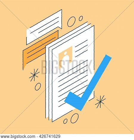 Job Recruiting Isometric Illustration Approved Candidates Cv To Vacancy Position. Hand Drawn Positiv