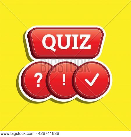 Illustration Of Quiz 3d Design Red Icon. Vector Eps 10
