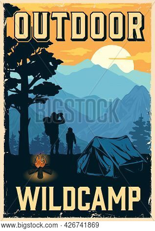 Camping Vintage Colorful Poster With Bonfire Tent Boy And Man Travelers Looking At Mountains Landsca