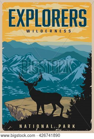 National Park Vintage Colorful Poster With Deer Standing Near Cliff And Looking At Mountains Landsca