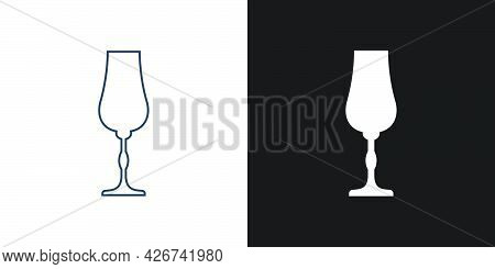 Glass Liquor. Two Types Of Images. Contour Line Art In Flat Style. Silhouette Wine Glasses On A Blac