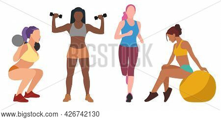 A Collection Of Four Different Women Are Engaged In Sports. Gymnastics, Running, Weightlifting, Fitn