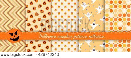 Halloween Seamless Patterns Set. Vector Collection Of Colorful Background Swatches. Cute Funny Abstr