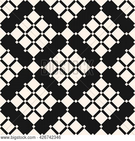 Geometric Squares Pattern. Vector Abstract Black And White Seamless Texture With Diamond Grid, Grill
