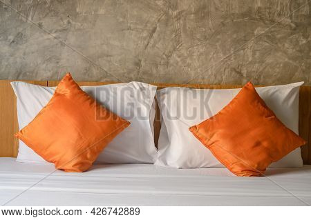 The Twin Pillow Set Arrangement In Hotel Bedroom. Pillow Is A Support Of The Body At Rest For Comfor