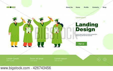Happy Graduated Student Standing And Holding Diplomas Isolated Flat Vector Illustration. Smiling Guy
