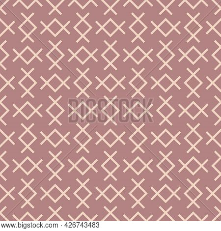 Vector Abstract Geometric Pattern With Linear Shapes, Rhombuses. Ethnic Tribal Motifs. Subtle Minima
