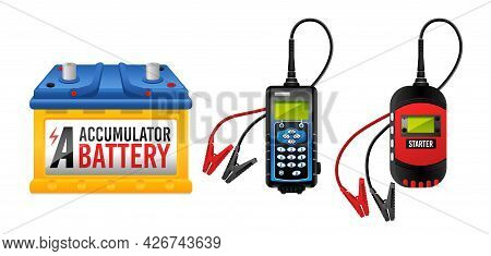 Car Battery, Electricity Accumulator Charger, Battery Checker And Starter Vector Illustration Isolat