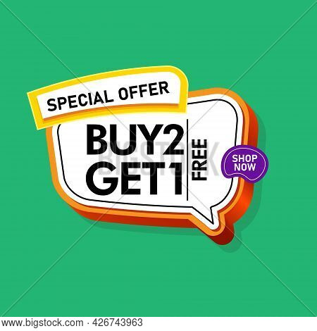 3d Render Of Buy 2 Get 1 In Green Blackground Eps 10