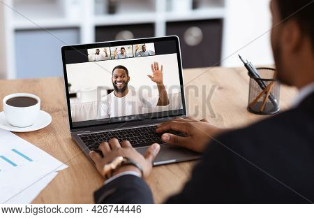 Diverse Business People Making Online Briefing Videochat At Home