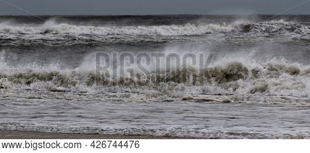 The Atlantic Ocean Off The Coast Of Fire Island New York Is Very Rough With Many Waves Forming From