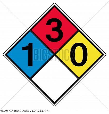 Nfpa 704 1-3-0-0 Symbol Sign, Vector Illustration, Isolate On White Background Label. Eps10