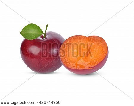 Cherry And Half Cherry Isolated On White Background