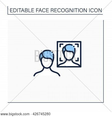 Photo Face Recognition Line Icon. Authentication By Facial Recognition.identify Person From Image.id