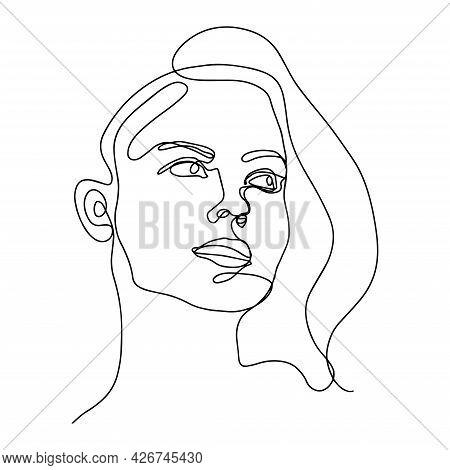 Line Portrait. One Line Woman Face. Face Line Art. Continuous Line