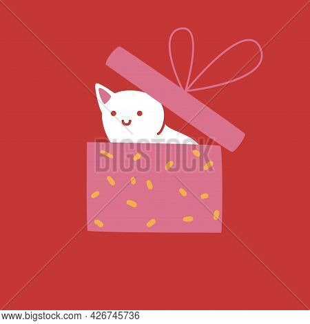 White Cat Hiding In Gift Box. Cute Character On Red Background, Greeting Card Design, Vector Ilustra