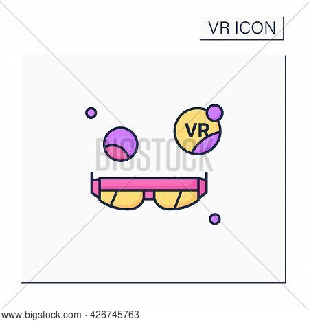 Augmented Reality Glasses Color Icon. Add Extra Information, Ideally 3d Images And Information, Anim